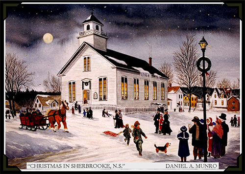 Christmas in Sherbrooke Nova Scotia - painting by Daniel A Munro