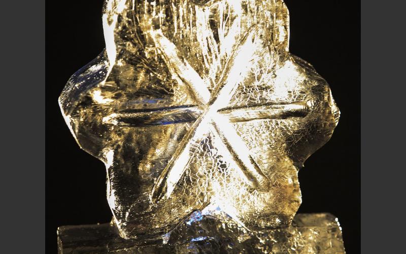 Ice sculpture art at Sherbrooke Village.