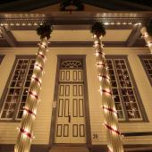 Courthouse decorated — at Sherbrooke Village.