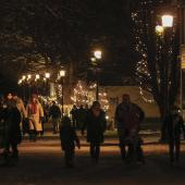 People make their way along the streets before the festivities begin.